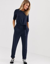 JDY tie waist short sleeve jumpsuit