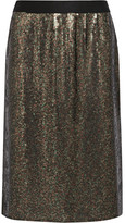 Tibi Sequined Silk-chiffon Skirt - Army green