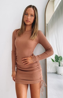Beginning Boutique Curved Long Sleeve Ribbed Dress Tan