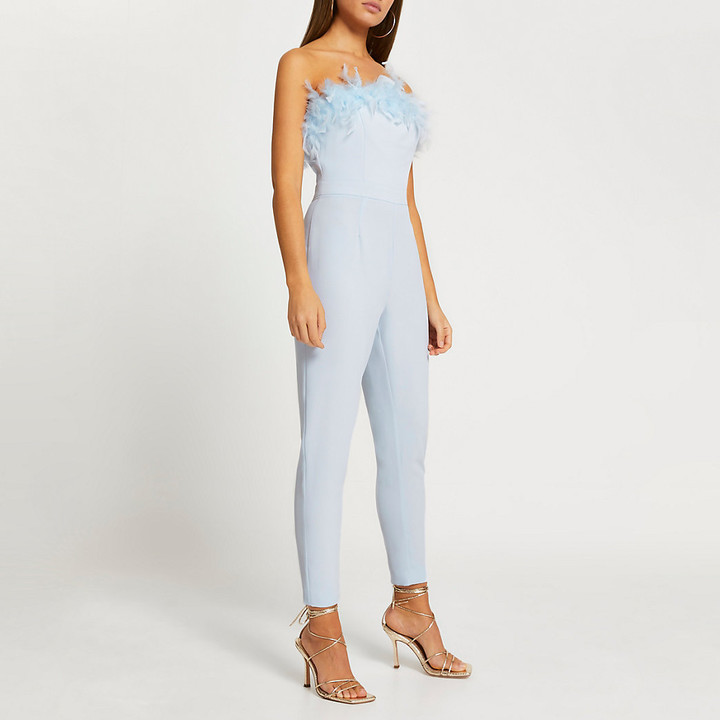 Thumbnail for your product : River Island Womens Blue bandeau feather hem tapered jumpsuit