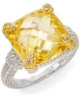 Judith Ripka Linen Canary Crystal, Diamond, Sterling Silver & 18K Yellow Gold Cushion Ring