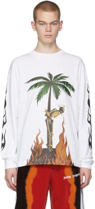 Palm Angels White Burning Skeletons Long Sleeve T-Shirt