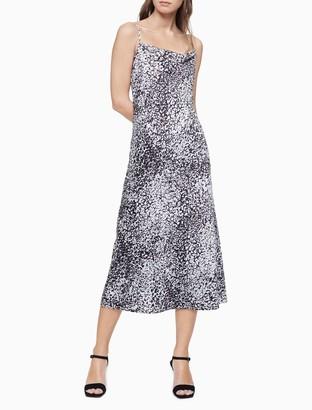 Calvin Klein Printed Cowl Neck Sleeveless Long Slip Dress