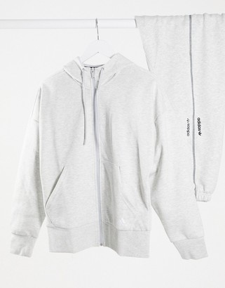 adidas Training zip through hoodie in grey