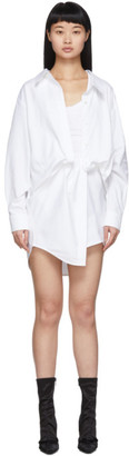 Alexander Wang White Falling Twist Shirt Dress