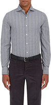 Finamore Men's Plaid Cotton Shirt-NAVY