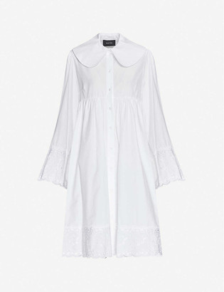 Simone Rocha Floral-embroidered cotton midi dress