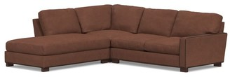 Pottery Barn Turner Square Arm Leather 3-Piece Bumper Sectional with Nailheads