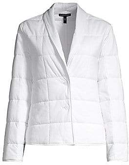 Eileen Fisher Women's Organic Cotton Shawl Collar Quilted Jacket