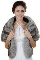 Seven & Nine Service Elegant Handmade Premium Faux Fox Fur Casual, Party/Evening Shawls, Scarf Wraps (Grey)