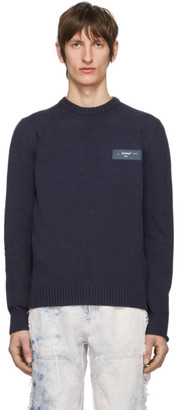 Off-White Navy Logo Crewneck Sweater