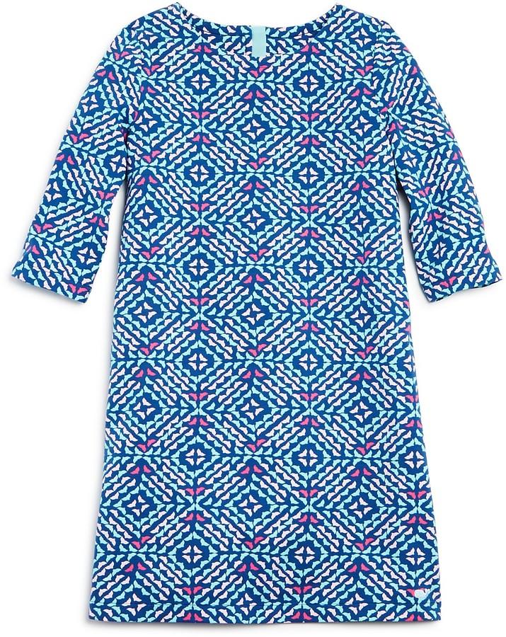 Vineyard Vines Girls' Whale Tail Print Shift Dress