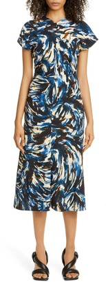 Proenza Schouler Paint Print Cady Midi Dress