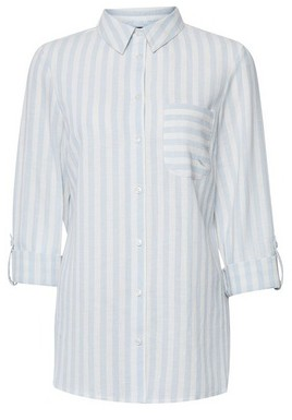 Dorothy Perkins Womens Pale Blue Striped Shirt With Linen, Blue