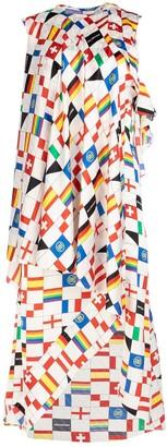 Balenciaga Flag Printed Sleeveless Dress