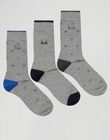Pringle Kilbride Socks In 3 Pack Gray