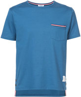 Thom Browne Short Sleeve T-Shirt With Chest Pocket In Blue Jersey