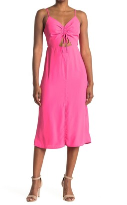 Topshop Molly Front Cutout Ruched Midi Dress
