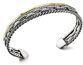 David Yurman Stax Three-Row Cuff Bracelet in Blackened Silver with Diamonds