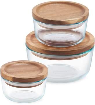 Pyrex Glass Acacia Wood 6-Piece Storage Container Set