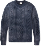 Kent & Curwen Distressed Cable-Knit Wool Sweater