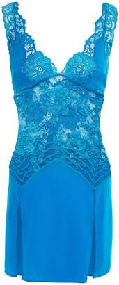 La Perla Stretch-silk, Lace And Crepe Chemise