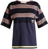 Marni Round-neck striped cotton top