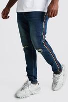 boohoo Mens Blue Big And Tall Side Tape Skinny Jean, Blue