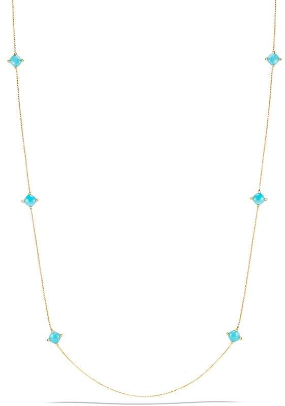David Yurman Ch'telaine Long Station Necklace with Turquoise and Diamonds in 18K Gold