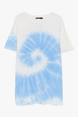 Nasty Gal Womens You're a Swirlwind Baby Tie Dye Plus Tee - Blue - 18