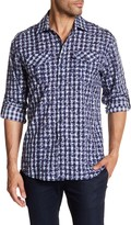James Campbell Jameson Checkered Floral Woven Shirt