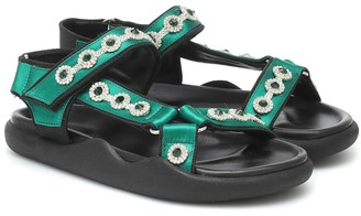 Christopher Kane Crystal-embellished satin sandals