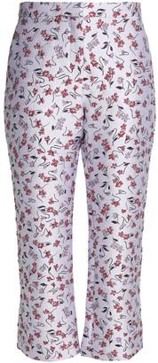 Altuzarra Cropped Floral-jacquard Flared Pants