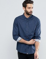 Pretty Green Shirt With Diamond Print In Slim Fit Navy