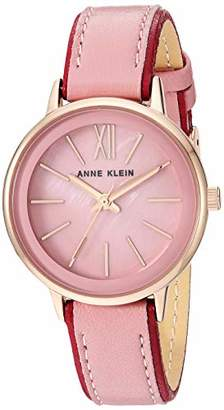 Anne Klein Women's Rose Gold-Tone and Pink Leather Strap Watch