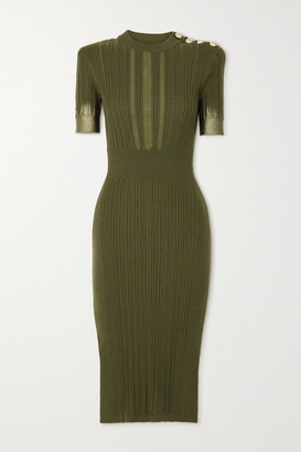 Balmain - Button-embellished Metallic Ribbed Silk, Wool And Cashmere-blend Midi Dress - Army green