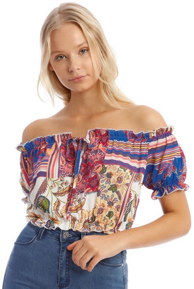 Missguided Floral Bardot Tie Front Top Blue