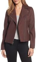 Tahari Women's Skylar Leather Moto Jacket
