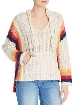 Vintage Havana Retro-Stripe Crochet Hooded Sweater