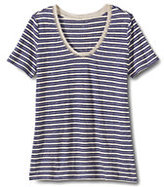 Classic Women's Petite Linen V-neck T Shirt-Midnight Indigo Stripe