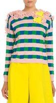 DELPOZO Ruffled Check Pullover Sweater, Pink/Blue/Yellow
