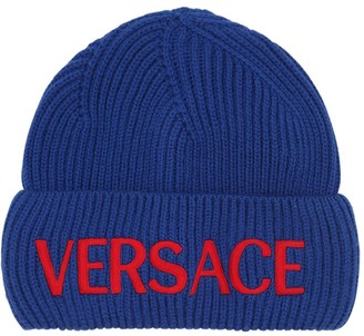 Versace Logo Embroidered Wool Knit Hat