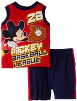 Disney Baby-Boys Infant Mickey Mouse 2 Piece Knit Pullover And Short Set