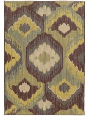 "Tommy Bahama Cabana Ikat Brown/Yellow Indoor / Outdoor Area Rug Home Rug Size: Rectangle 1'10"" x 3'3"""