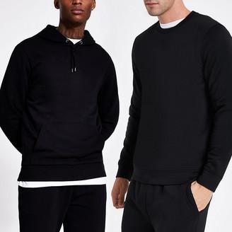 River Island Black long sleeve hoodie and sweatshirt set