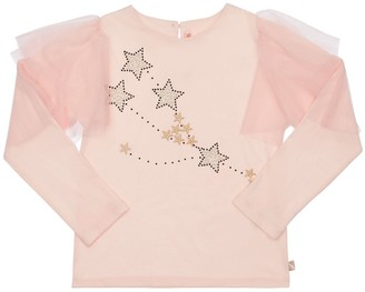 Billieblush Embroidered Jersey T-Shirt W/ Ruffles