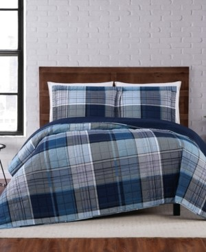 Truly Soft Trey Plaid King Quilt Set