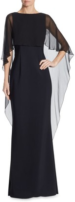 Teri Jon By Rickie Freeman Scuba Gown Chiffon Overlay Dress