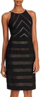 Adrianna Papell Banded Jersey and Mesh Sheath Dress