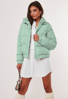 Missguided Petite Mint Hooded Puffer Jacket